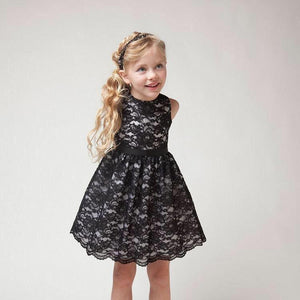 3-10Y Girls Black Lace Ball Dress A20128N