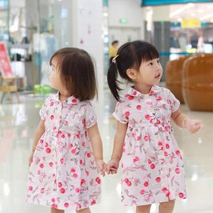1-6Y Girls Cherry Collar Button Dress G20125H