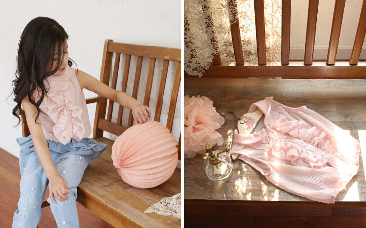 3-10Y Girls Pink Frill Sleeveless Blouse A20212L