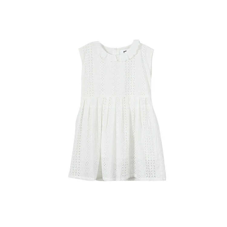 3-15Y Girls White Embroidery Collar Dress G21034J