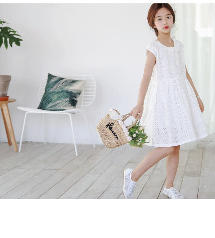 3-15Y Girls White Embroidery Collar Dress G21034J (Mother size available)