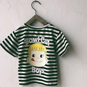 1-8Y Kids Stripes Bowl Cut Boys Top A20213E