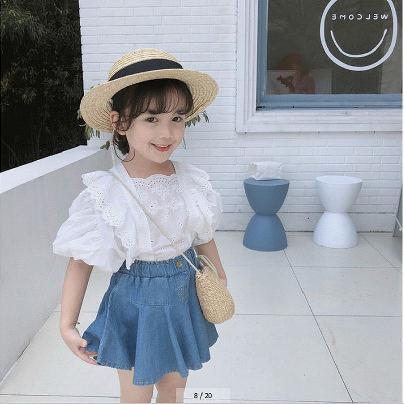 Girls Ruffles White Blouse A20218E