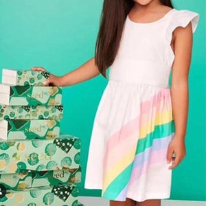Rainbow Ruffles Sleeves Dress G20126E