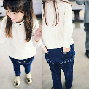 2-7Y Girls Korean Pinkideal Denim Jeans A2045I