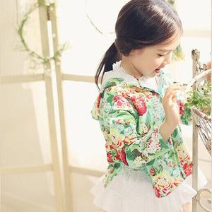 2-7Y Girls Korean Pinkideal Floral Hoodie Jacket A2086C