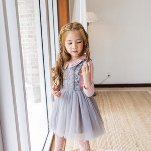 3-10Y Girls Lace Tulle Pinafore Dress A20129M