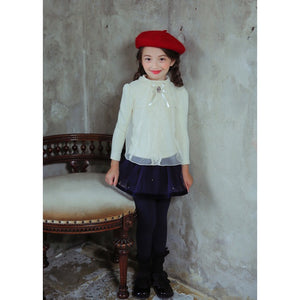 2-10Y Girls Lace Long Sleeves Top A20215F