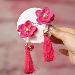 Handmade Kids Cherry Blossom Flower Pair of Hairclips A323G882C