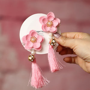 Handmade Kids Cherry Blossom Flower Pair of Hairclips A323G882A