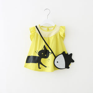 1-4Y Girls Yellow Kitten Dress A2013L
