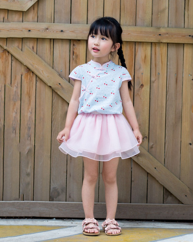 2-8Y Girls Cherry Cheongsam Top and Bottom 2pcs Set A200C41C
