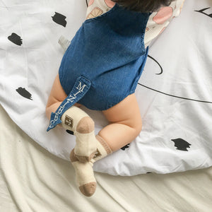 0-2Y Baby Blue Jeans Romper with tail K4021F