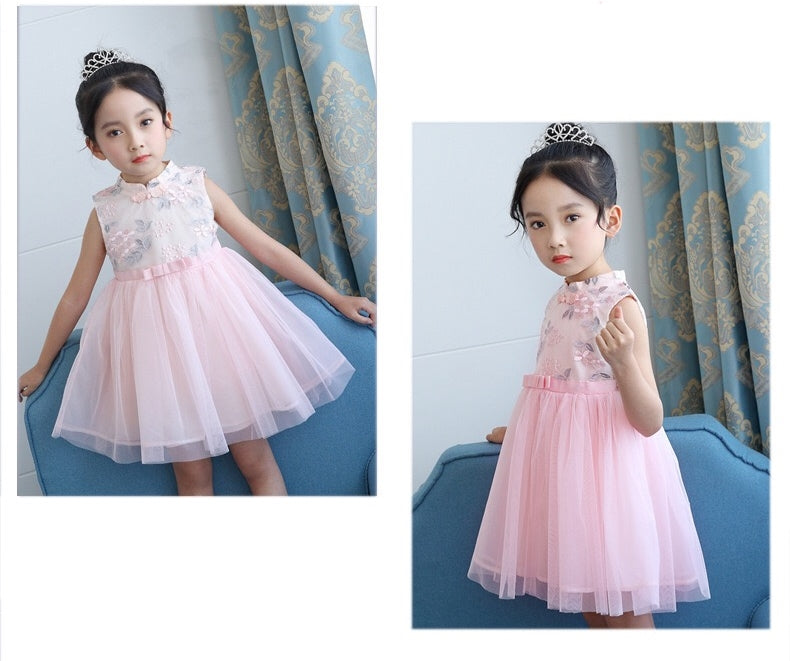 3-12Y Girls Embroidery Tulle Cheongsam Dress A200C64D