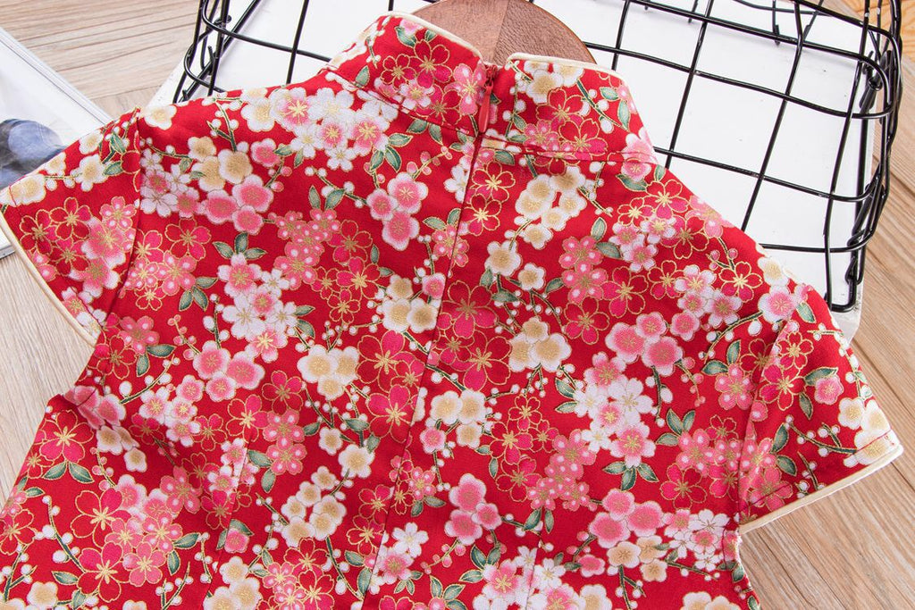 2-10Y Girls Red Floral Cheongsam Dress A200C15F
