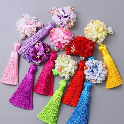 Kids Chinese Flower Pair of Hairclips A323G88J / A323G88K / A323G88L / A323G88M / A323G88N
