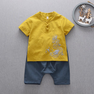 2-7Y Boys Kungfu Top and Bottom 2pcs Set A100C42A