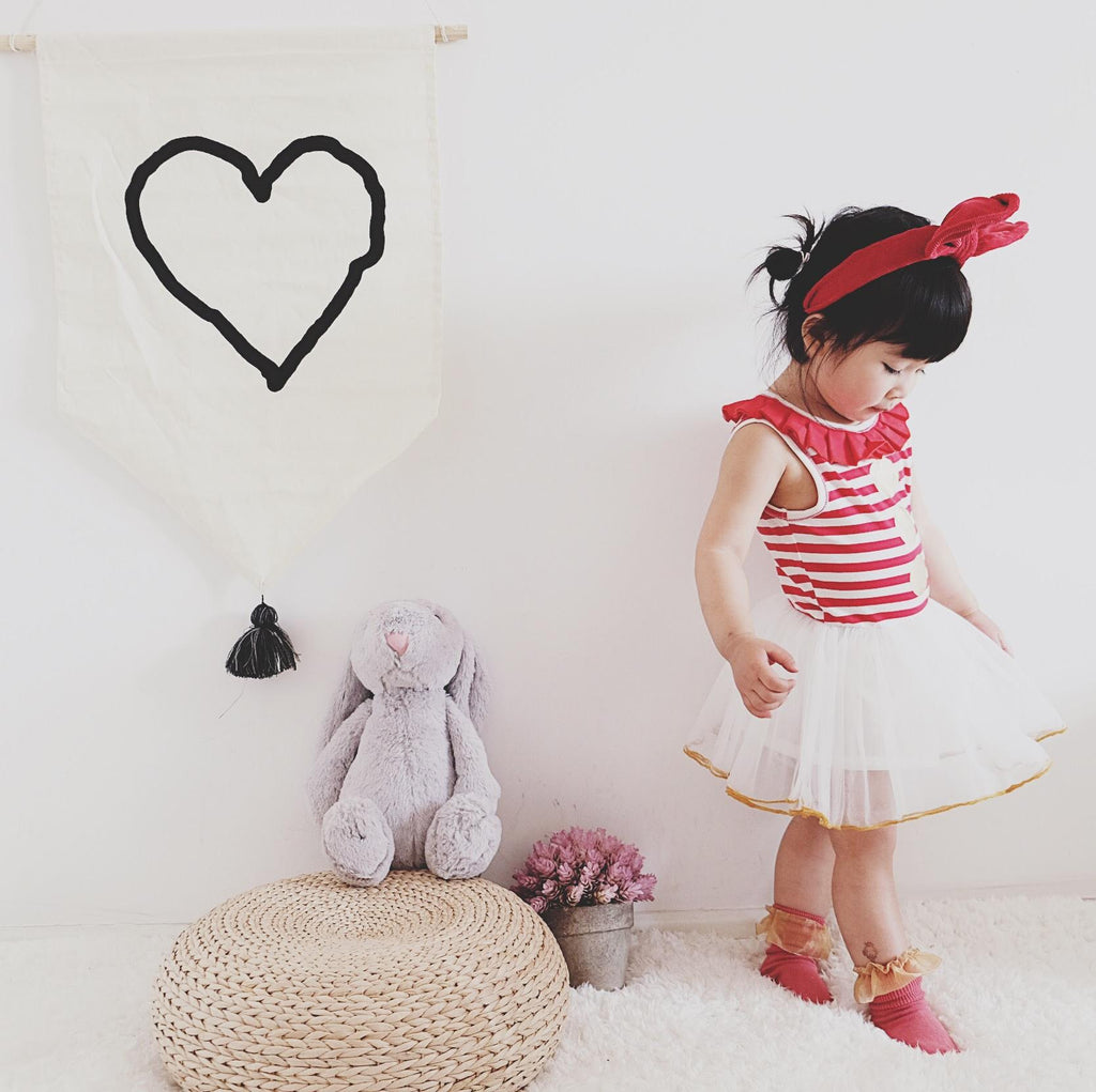 1-6Y Girls Elve Red Stripes Tulle Dress G20122E