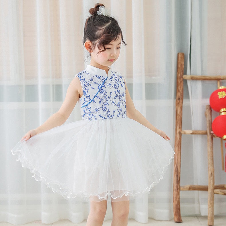 2-8Y Girls Embroidery Tulle Cheongsam Dress A200C64H