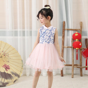 2-8Y Girls Embroidery Tulle Cheongsam Dress A200C64G