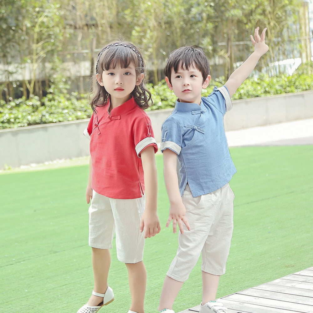 2-12Y Boys Kungfu Top and Bottom 2pcs Set A100C41E