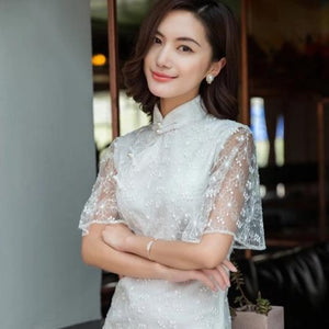 Women Lace Cheongsam Dress A200C15E (size S to XXL)