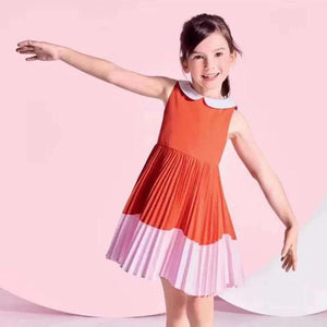 Girls Classic Collar Red Pleated Dress G20132H