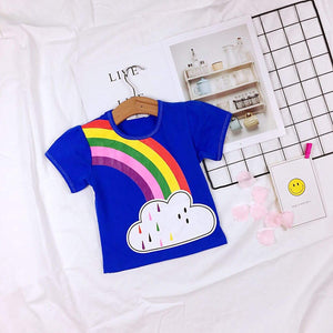 1-7Y Girls Rainbow Shirt A20214G