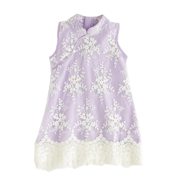 1-8Y Girls Embroidery Lace Cheongsam Dress A200C15A