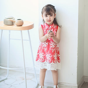 1-8Y Girls Embroidery Lace Cheongsam Dress A200C15B