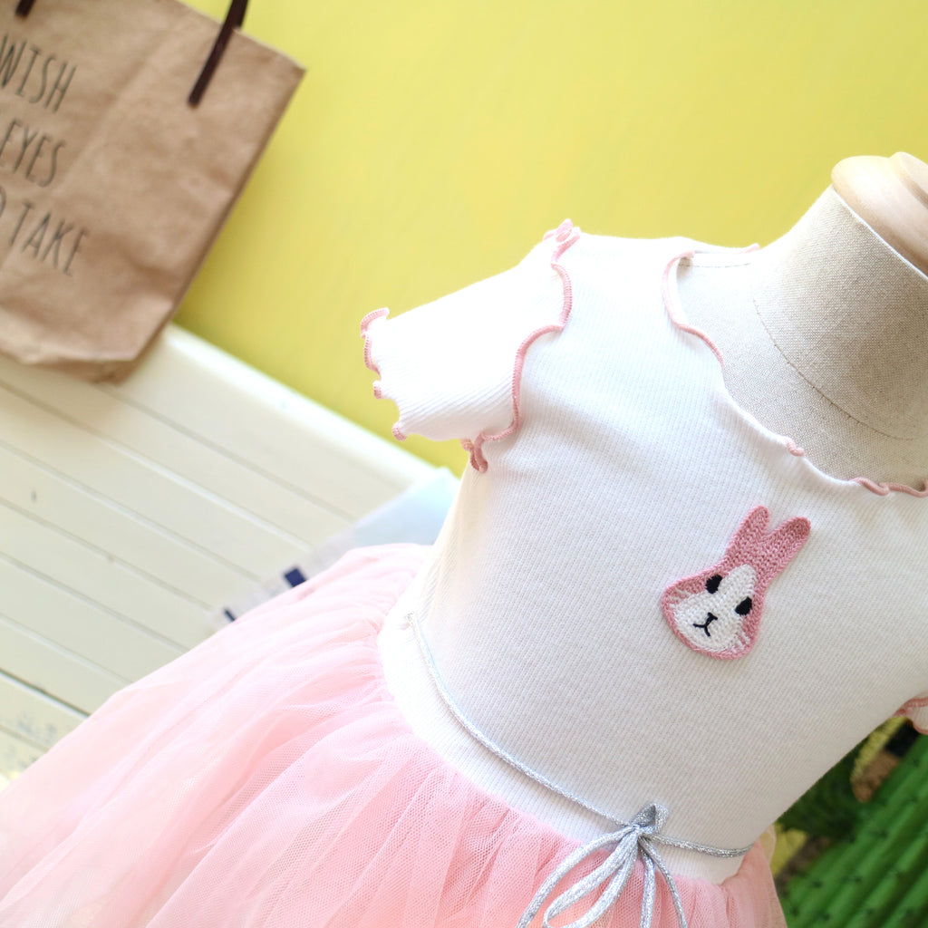 1-6Y Girls Whit Bunny Pink Tulle Dress A20124D