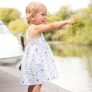 2-7Y Girls Soft Cotton Nautical Dress A20134D