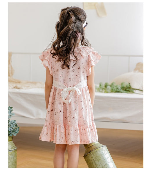 3-15Y Girls Floral Princess Dress with Apron G20124G