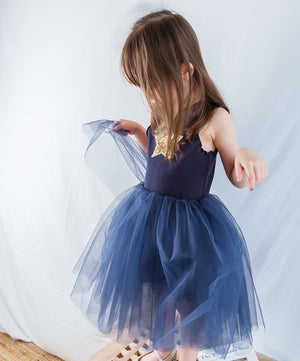 2-7Y Girls Blue Tulle Dress G2092B