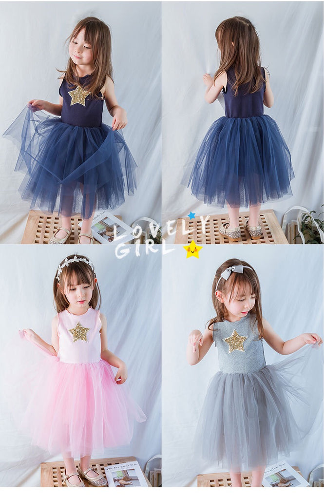 2-7Y Girls Grey Tulle Dress G2092C
