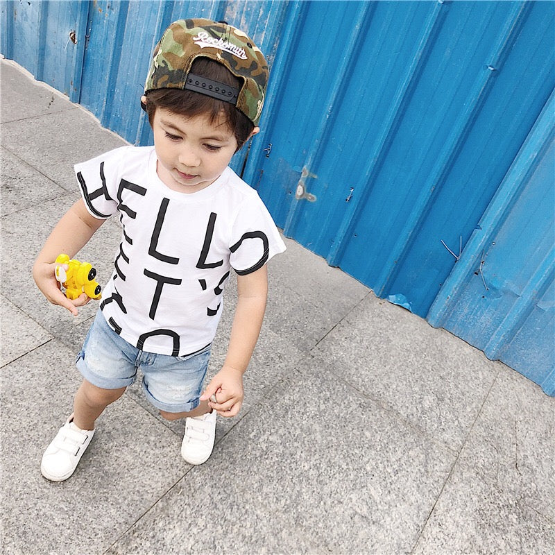 1-6Y Kids HELLO White Shirt A10414B