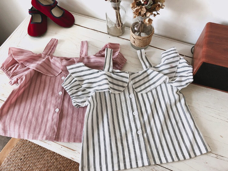 1-8Y Girls Off-Shoulder Stripes Top A20213M