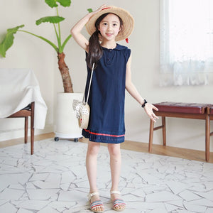 3-15Y Girls Blue Pleated Dress G20121A