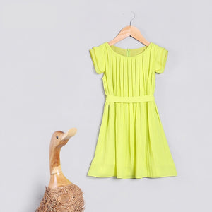 3-10Y Girls Lemon Green Pleated Dress G20124H