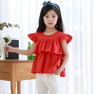 3-15Y Girls Red Layer Blouse G21042A