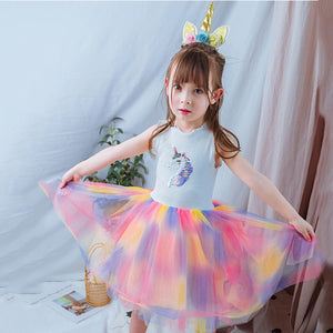 2-8Y Girls Unicorn Rainbow Tulle dress G20126L