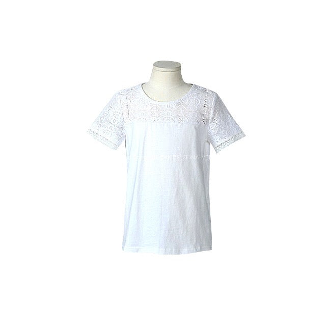 3-15Y Girls White Lace Top G21041D