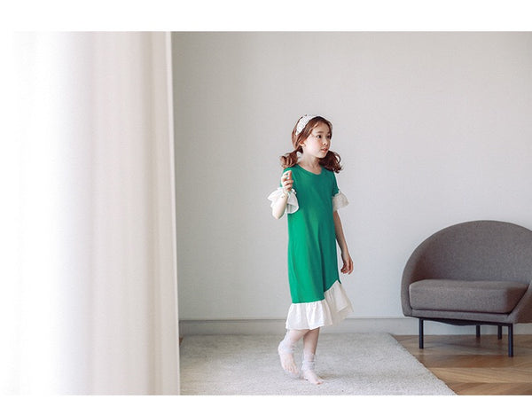 3-15Y Girls Green Hem Dress G21032D (Mother sizes available)