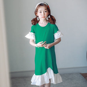 3-15Y Girls Green Hem Dress G21032D