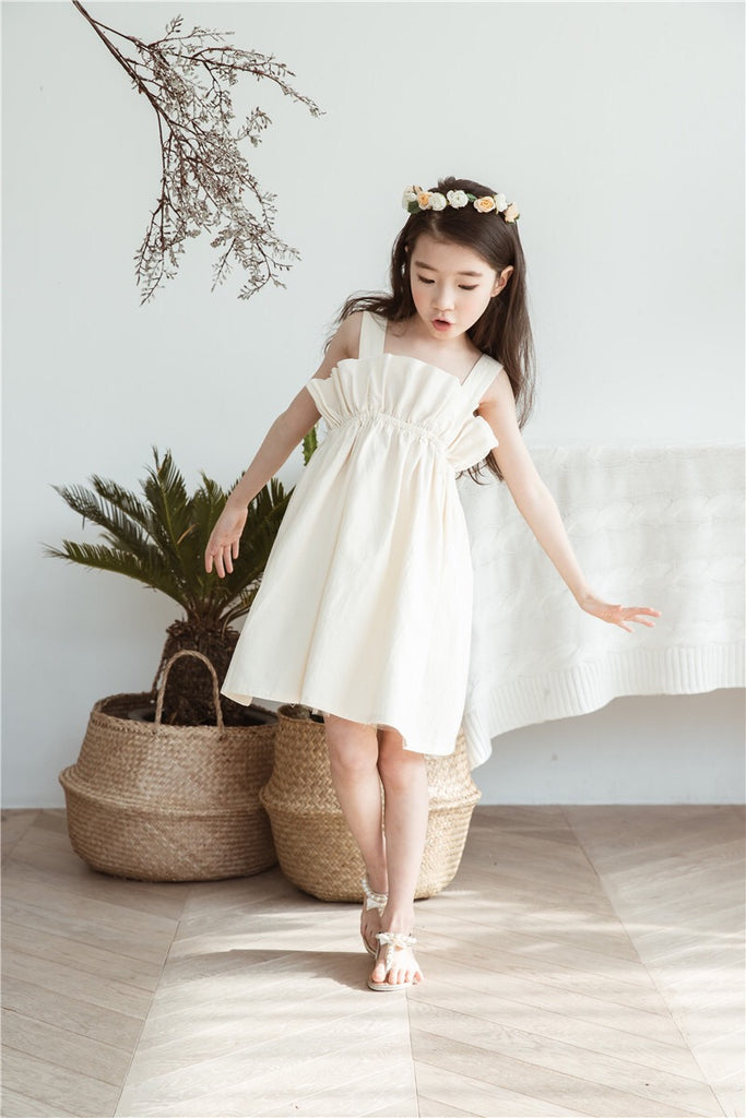 3-15Y Girls Beige Dress G21032F (Mother sizes available)