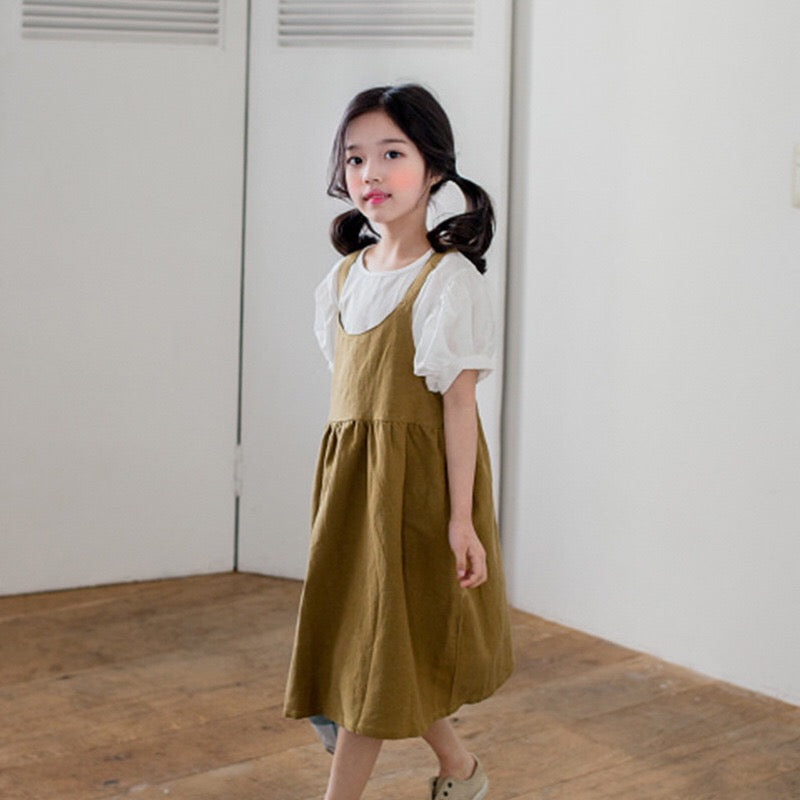 3-15Y Girls Brown Dress G21032H / White Blouse G21032I (Mother sizes available)