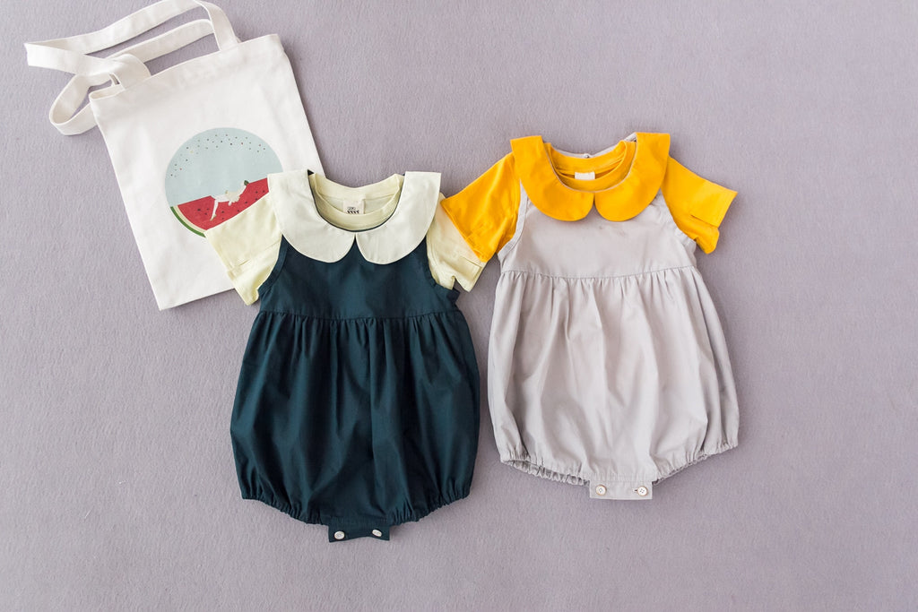 1-4Y Baby Collar Rompers with Shirt 2pcs Set K4020D