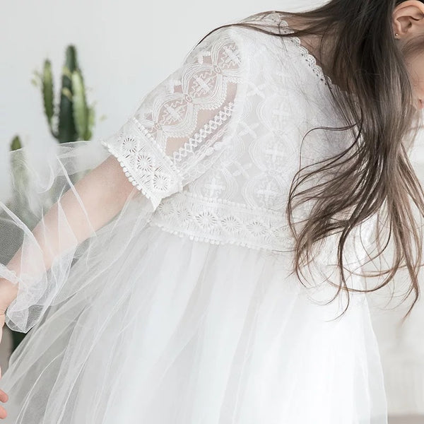 3-15Y Girls White Lace Dress G21032J (Mother sizes available)