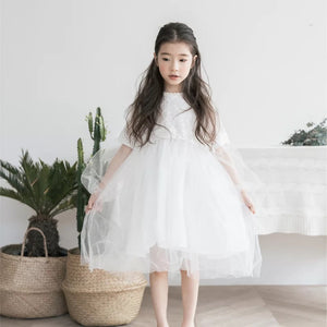 3-15Y Girls White Lace Dress G21032J