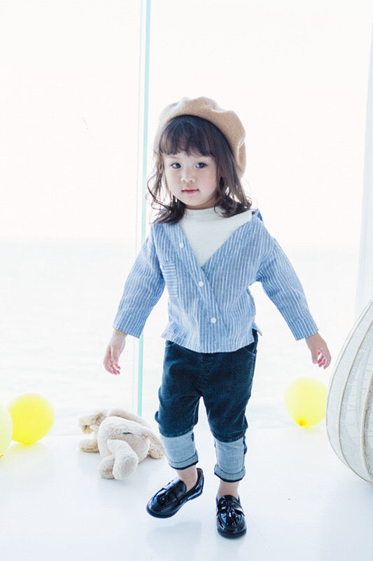 1-6Y Kids Blue and White Shirt A20211J